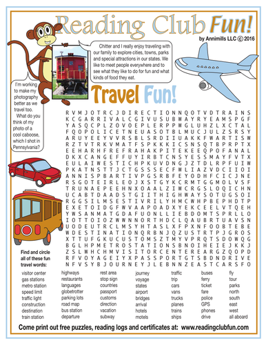 Travel Fun Word Search Puzzle By ReadingClubFun
