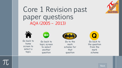 AQA Core 1 Exam Questions by Topic Revision resource