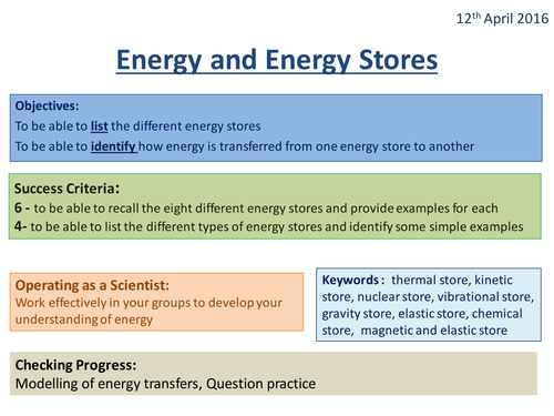 Energy and Energy Stores - Activate 2