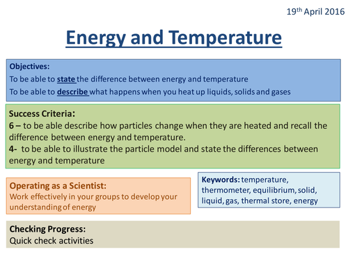 Energy and Temperature - Activate 2