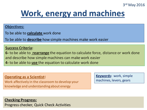 Work, Energy and Machines - Activate 2