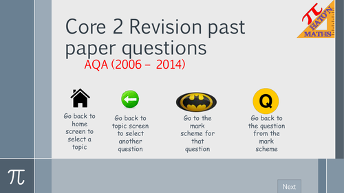 AQA Core 2 Exam Questions by Topic Revision resource