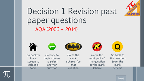 AQA Decision 1 Exam Questions by Topic Revision resource