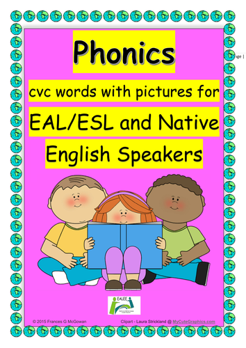 Phonics CVC words with pictures for EAL/ESL/ELL students