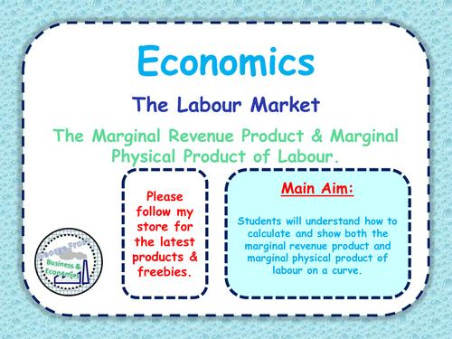 The Labour Market - The Marginal Revenue Product ...