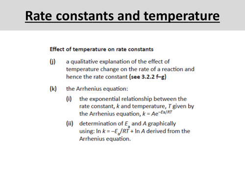 Rate constant & temperature - OCR A Level Chemistry (Orders, Rate equations and Rate constants)