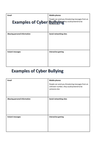 Cyber bullying worksheet by anjipanji78 - Teaching Resources - Tes