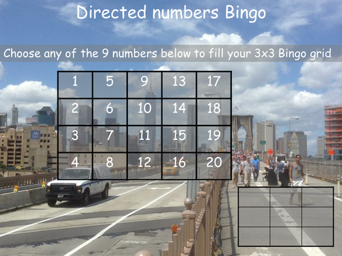 Multiplying directed  numbers bingo