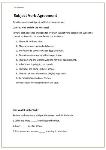 Subject- verb agreement worksheet by louisacarol - Teaching ...
