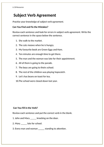 Subject Verb Agreement Worksheet Teaching Resources