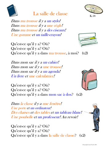 Classroom objects worksheets in spanish