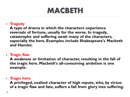 miss porter s ks english resource shop teaching resources tes ks3 english shakespeare macbeth definition of tragedy tragic flaw tragic hero