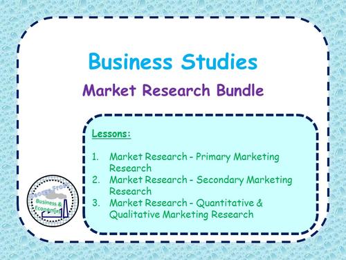 Market Research Lesson Bundle - GCSE Business Studies