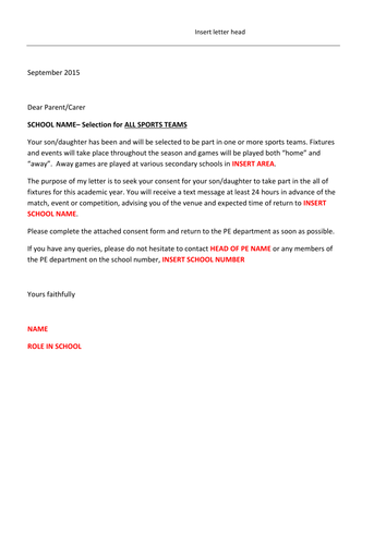 Letter for sports fixtures and clubs