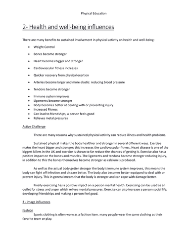 Edexcel PE revision booklet for new GCSE