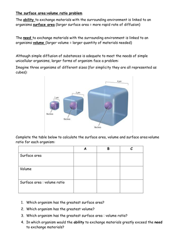 Surface area:Volume - the basic principles and applying knowledge