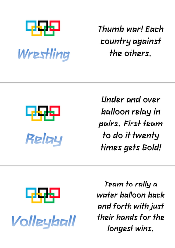 Alternative Olympics - a spin on traditional Olympic activities