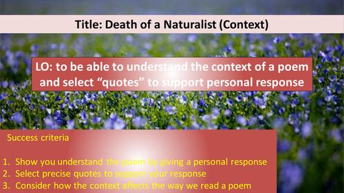 Death of a naturalist analysis essays