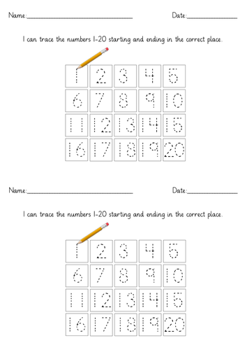 I can write the numbers 1-20