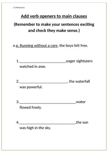 Verb openers worksheets