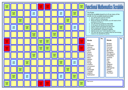 Functional skills Scrabble board Maths