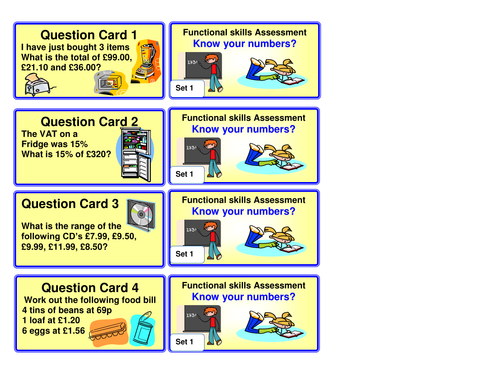 Functional Maths resource cards L1