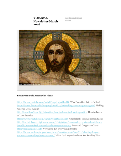 March 2016 Resources and Lesson Plan Ideas for Teachers of Religious Education