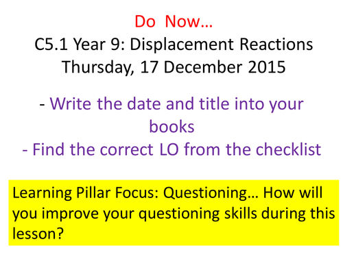 New AQA GCSE TrilogyChemistry: Displacement Reactions
