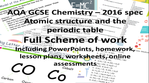 aqa atomic structure and the periodic table full scheme of work for new gcse