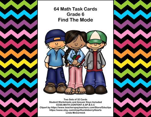 64 Task Cards - Grade 6-Find The Mode-CCSS.MATH.CONTENT.6.SP.B.5.C