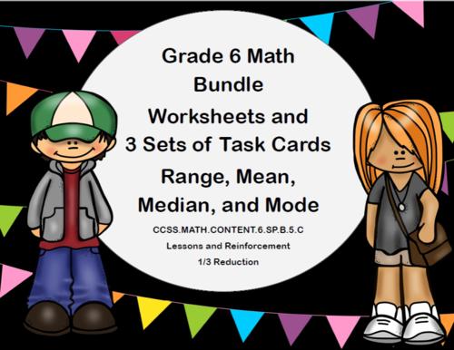 Grade 6 Math  Bundle-Range, Mean,  Median, and Mode
