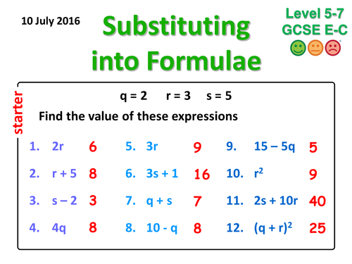 Substituting into Formulae