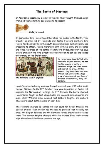 Battle of Hastings worksheet by sweacpst - Teaching Resources - Tes