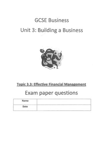 Edexcel GCSE (2009) Unit 3 end of topic test 3.3 Effective Financial Management