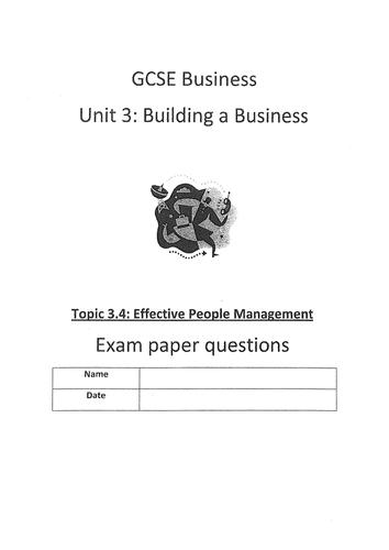 Edexcel GCSE (2009) Unit 3 end of topic test 3.4 Effective People Management