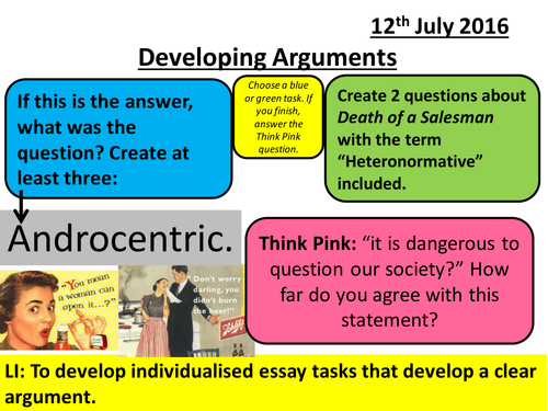 AQA A and AS Level English Literature New Specification: Developing Arguments Lesson