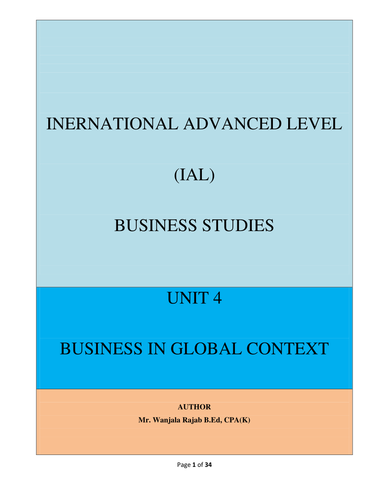 Edexcel Business Studies Unit 4-Business In Global Context(Full Notes)