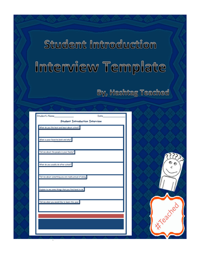 (Get To Know You) Student Introduction Interview Questions Template