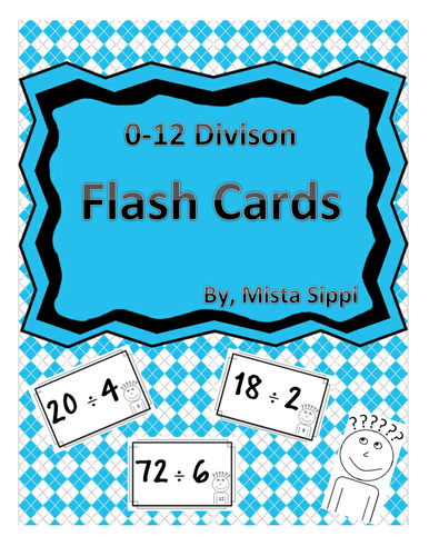 0-12 Divison Flash Cards for Studying with Answers