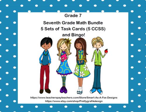 Seventh Grade Math Bundle-5 Sets of Task Cards (5 CCSS)