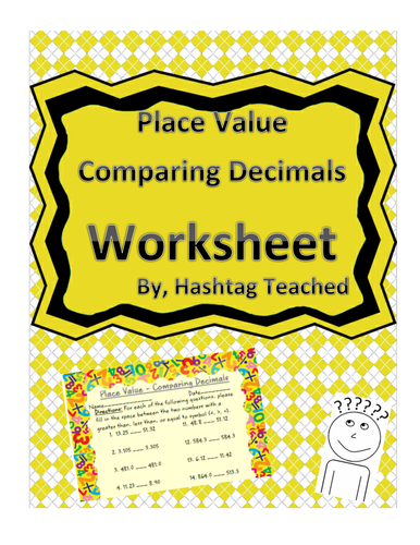 Comparing Decimals - Place Value Worksheet Assessment by ...