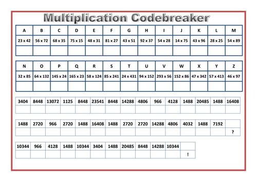 multiplication codebreaker activity by prof689 teaching resources tes. Black Bedroom Furniture Sets. Home Design Ideas