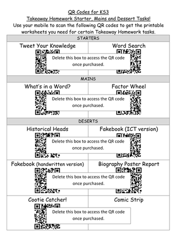 The ULTIMATE Takeaway Homework menu (generic for all subjects) with QR codes