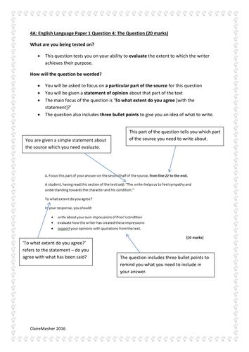 NEW AQA GCSE English Language Revision: Paper 1 Question 4