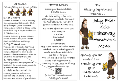 THE ULTIMATE Takeaway Homework menu (History specific) with QR codes