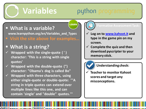 Python Programming Lesson 3 (Year 7 or younger) - Strings and Variables.