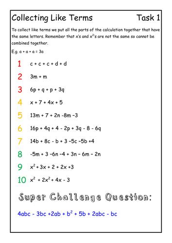 Algebra Basics Intervention Lesson