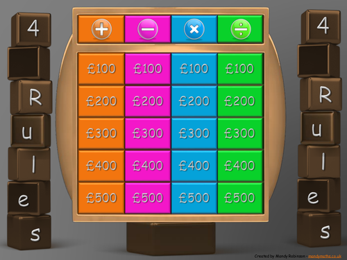 Animated Interactive Maths Gameshow - 4 Rules (questions without words) - Functional  Skills E3 L1