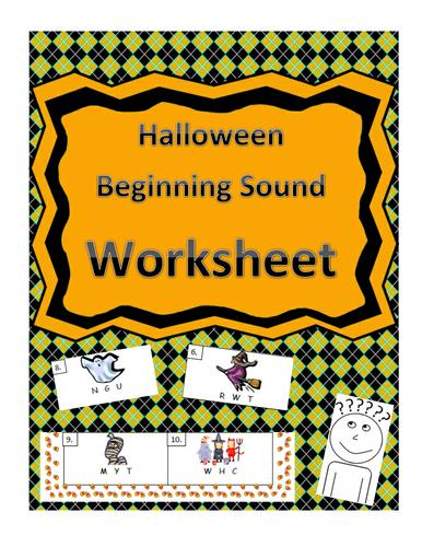 Halloween-Themed Beginning Sound Identification Worksheet
