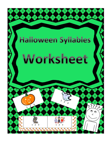 Halloween-Themed Syllables Count Worksheet